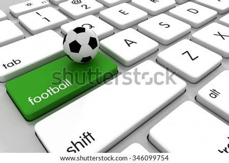 Three dimensional render of a soccer ball on a modern keyboard. Concept for sports betting. - stock photo