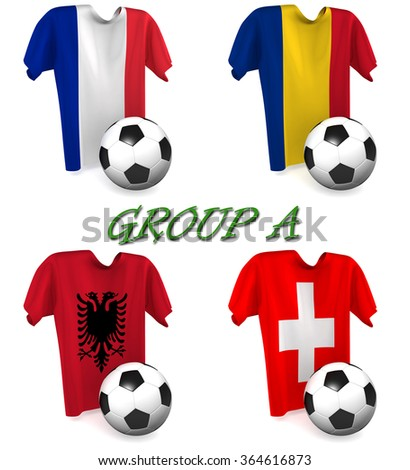 Three dimensional render of a t-shirt and ball depicting the four teams in group A