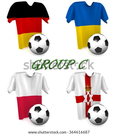 Three dimensional render of a t-shirt and ball depicting the four teams in group C