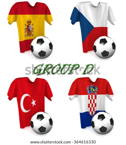 Three dimensional render of a t-shirt and ball depicting the four teams in group D - stock photo