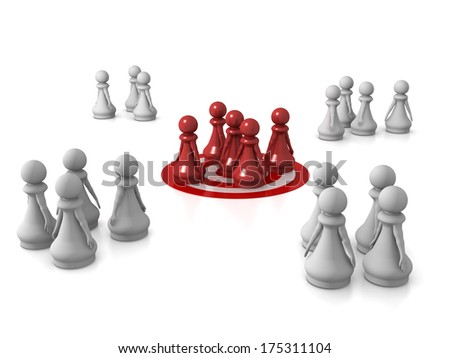 Three dimensional render of a team of red pawns being targeted. Concept for target audience. - stock photo