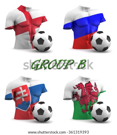 Three dimensional render of a torso and ball depicting the four teams in group B