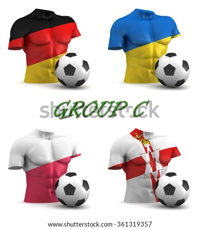 Three dimensional render of a torso and ball depicting the four teams in group C