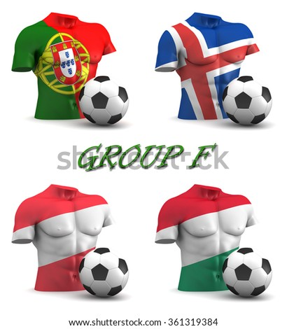 Three dimensional render of a torso and ball depicting the four teams in group F - stock photo