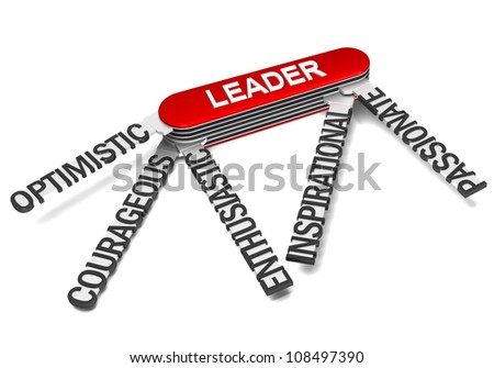 Three dimensional render of army knife showing characteristics of a great leader - stock photo