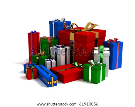 Three dimensional render of different sized and different colored gift boxes - stock photo