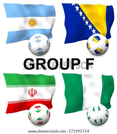 Three dimensional render of Group F of the worlds greatest soccer competition to be held in 2014 - stock photo