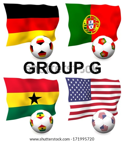Three dimensional render of Group G of the worlds greatest soccer competition to be held in 2014 - stock photo