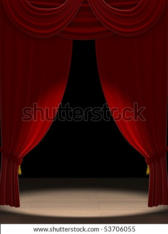 Three dimensional render of red velvet theatre curtains with a spotlight on stage - stock photo