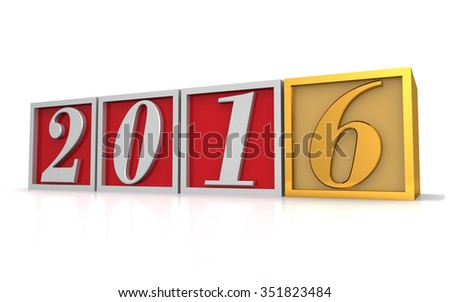 Three dimensional render of 2016 text in blocks - stock photo