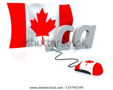 Three dimensional render of the Canadian domain and flag connected to a mouse - stock photo