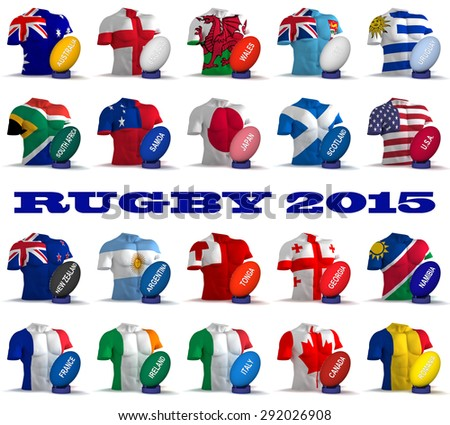 Three dimensional render of the flags and names of the nations participating in Rugby 2015