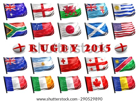 Three dimensional render of the flags of the nations participating in Rugby 2015 - stock photo