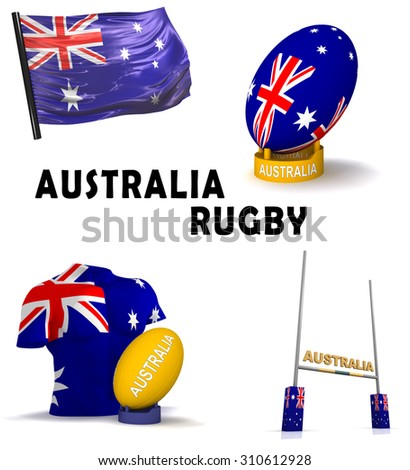 Three dimensional render of the symbols of Australian rugby - stock photo