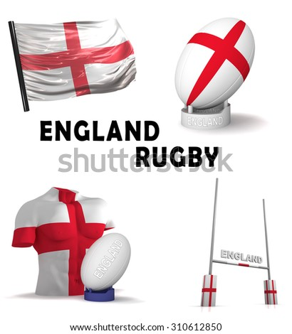 Three dimensional render of the symbols of English rugby - stock photo