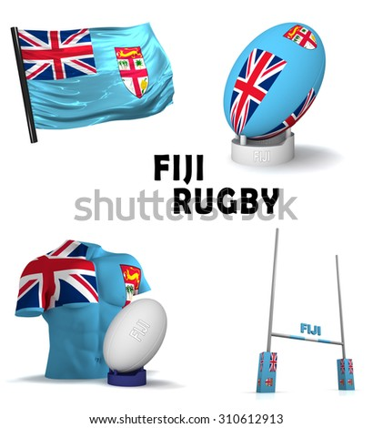 Three dimensional render of the symbols of Fijian rugby