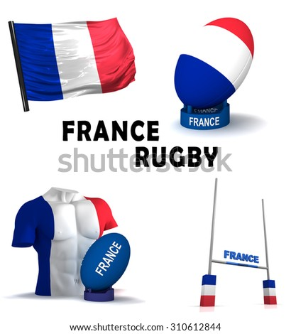 Three dimensional render of the symbols of French rugby - stock photo