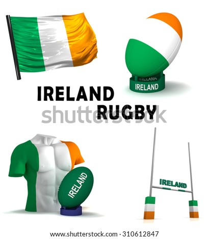 Three dimensional render of the symbols of Irish rugby