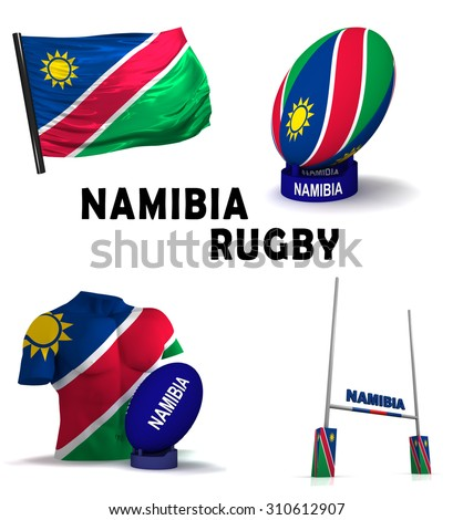 Three dimensional render of the symbols of Namibian rugby