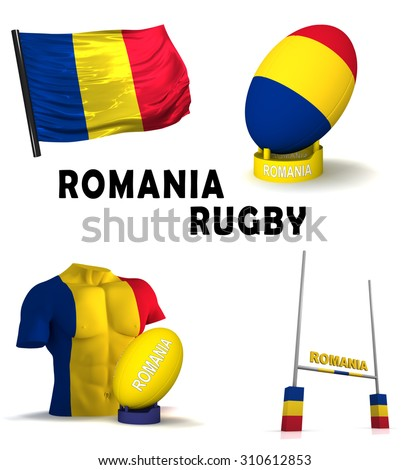 Three dimensional render of the symbols of Romanian rugby
