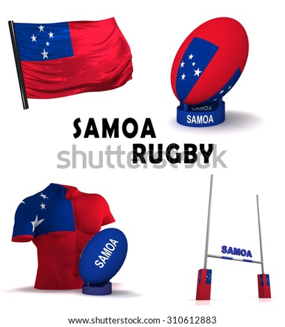 Three dimensional render of the symbols of Samoan rugby