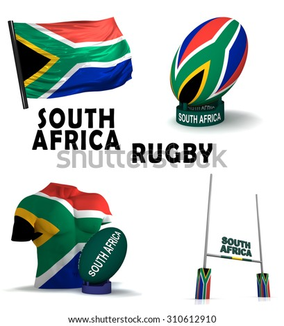 Three dimensional render of the symbols of South African rugby - stock photo