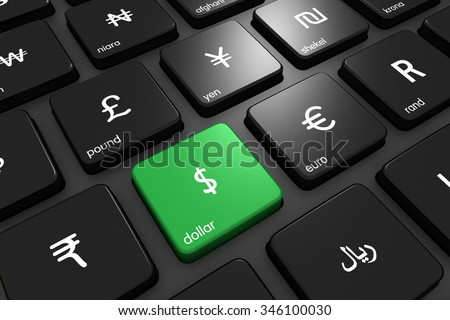 Three dimensional render of world currencies on a modern keyboard. Concept for finance. Focus on dollar. Currency icons made by Freepik from www.flaticon.com - stock photo