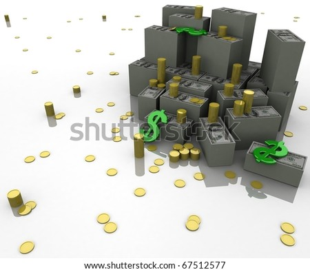three-dimensional, rendering, icons, dollars, gold coins and money on a glossy white plane in the long term - stock photo