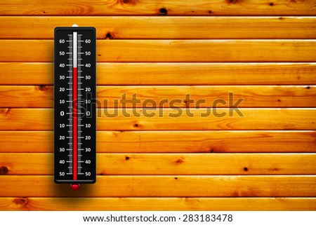 Three-dimensional rendering of thermometer indicates high temperature on wood texture with horizontal lumbers - stock photo