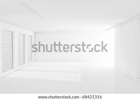 Three dimensional rendering white room with big light