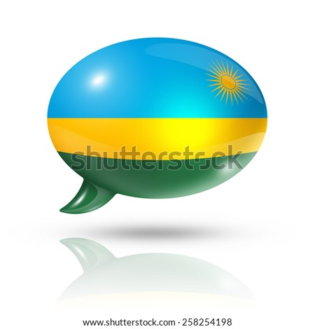 three dimensional Rwanda flag in a speech bubble isolated on white with clipping path - stock photo