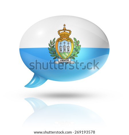 three dimensional San Marino flag in a speech bubble isolated on white with clipping path - stock photo