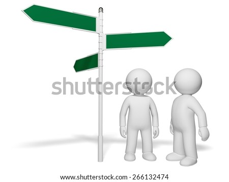 Three-dimensional Shape. 3D. Choice and directions signs - stock photo
