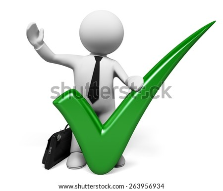Three-dimensional Shape. 3D. 3D man with a huge tick and thumb up - stock photo