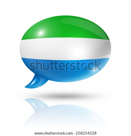 three dimensional Sierra Leone flag in a speech bubble isolated on white with clipping path - stock photo