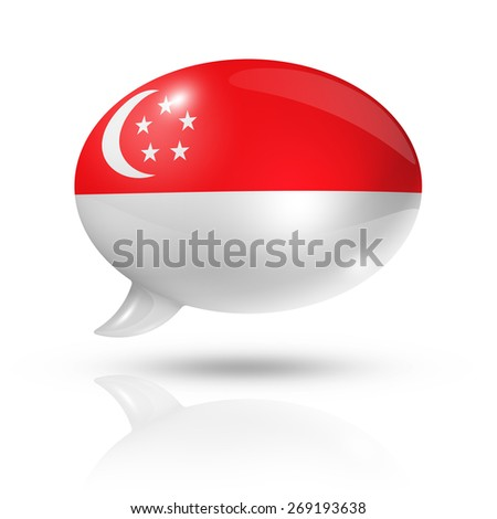 three dimensional Singapore flag in a speech bubble isolated on white with clipping path - stock photo