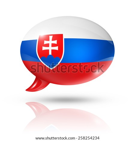 three dimensional Slovakia flag in a speech bubble isolated on white with clipping path - stock photo