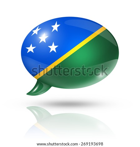 three dimensional Solomon Islands flag in a speech bubble isolated on white with clipping path - stock photo
