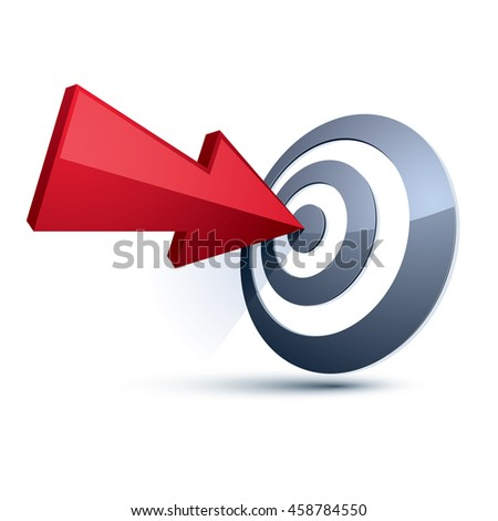 Three-dimensional symbol with an arrow directed into the target. Achieve goal business conceptual 3d icon. - stock photo