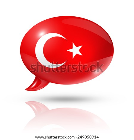 three dimensional Turkey flag in a speech bubble isolated on white with clipping path - stock photo