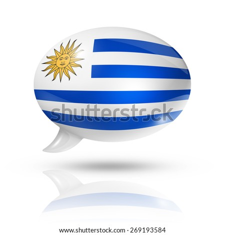 three dimensional Uruguay flag in a speech bubble isolated on white with clipping path - stock photo