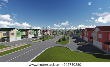 Three-dimensional visualization of small town main street. Cityscape for comfortable living. - stock photo