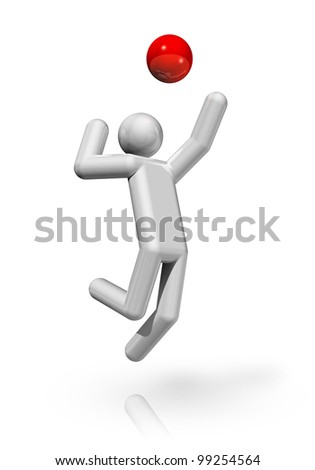 three dimensional volleyball symbol, sports series - stock photo