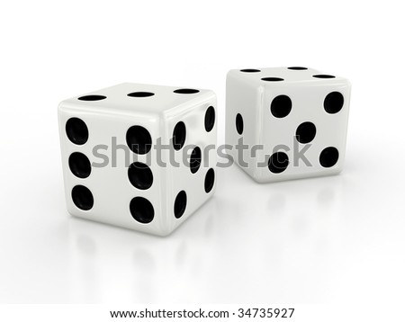 Three-dimensional white dice isolated on white with shadow