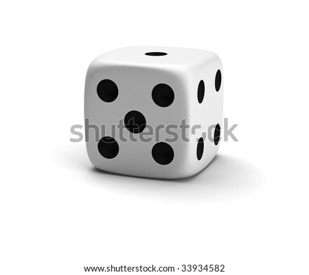 Three-dimensional white die isolated on white with shadow - stock photo