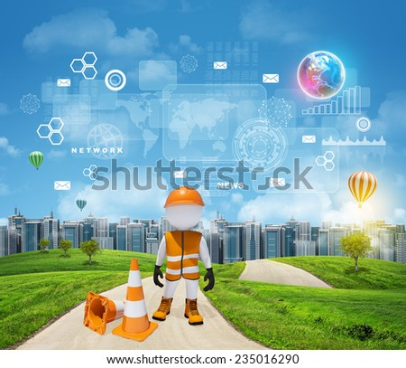 Three-dimensional worker standing on road running through green hills. City of tall buildings in background. Rectangles, diagrams and other virtual items in sky. Elements of this image furnished by - stock photo