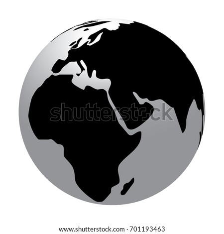Three dimensional world map simple globe stock illustration three dimensional world map simple globe with only black white and grey colors gumiabroncs Gallery
