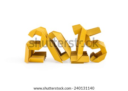 Three dimensional yellow origami paper craft number 2015 isolated on white background for Merry Christmas and Happy New Year 2015 - stock photo