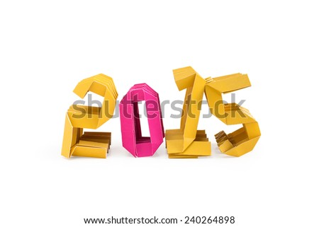 Three dimensional yellow origami paper craft number 2015 isolated with pink only for number zero on white background for Merry Christmas and Happy New Year 2015 - stock photo