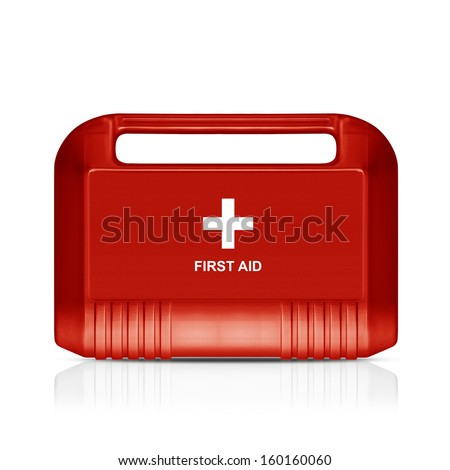 Three dimentional image of red first aid kit isolated on white background  (with clipping work path) - stock photo